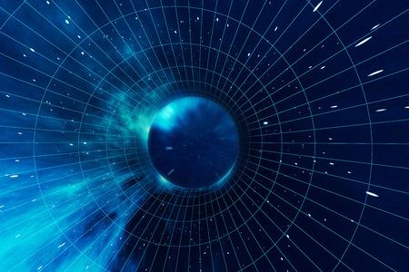 Kosmisches Wurmloch, Raumfahrtkonzept, trichterförmiger Tunnel, der ein Universum mit einem anderen, 3D-Rendering verbinden kann Standard-Bild - 73064188
