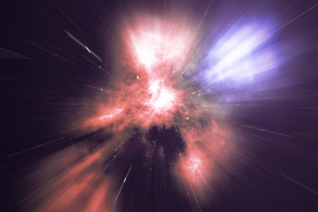 glowing wormhole in space, interstellar warp, traveling trough space and time, 3d rendering Imagens
