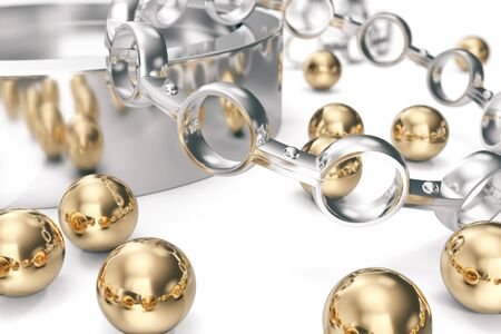 zinc: Conception of equipment. A group of bearings on a white background. 3d rendering. Stock Photo
