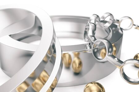 machining: Machining ball bearings on a white background. 3d rendering