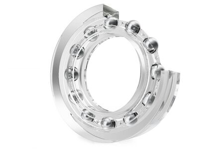 Industrial transparent bearings on a white background , 3d rendering.