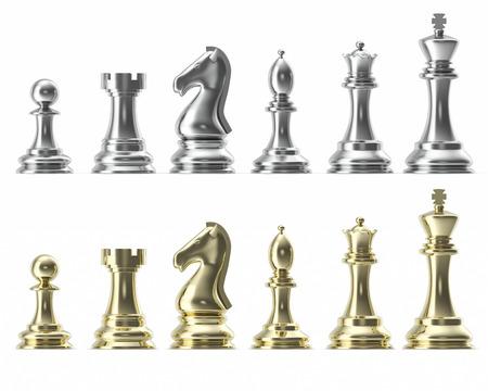 Zilveren en gouden set iconen voor schaken, op witte achtergrond, intelligent spel, 3D-rendering
