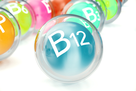Vitamin B12, isolated on white background. Symbol of health and longevity, 3d rendering Stok Fotoğraf