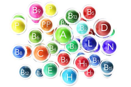 Essential Chemical Elements Nutrient Minerals Vitamins. 3d rendering