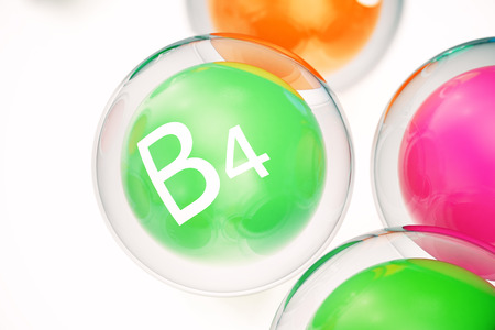Vitamin B4, group of organic substances, food additive, isolated, on white background, 3d rendering