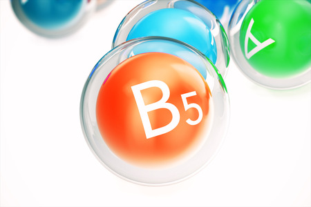 Vitamin B5 , isolated on white background. Symbol of health and longevity, 3d rendering