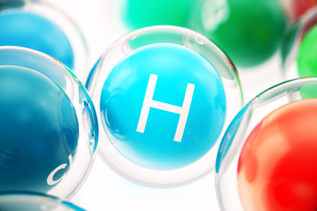 Vitamin H , isolated on white background. Symbol of health and longevity, 3d rendering