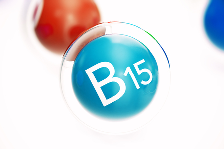 Vitamin B15 , isolated on white background. Symbol of health and longevity, 3d rendering