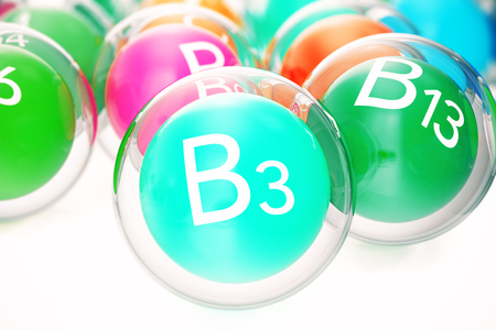 l natural: Vitamin B3, group of organic substances, food additive, isolated, on white background, 3d rendering
