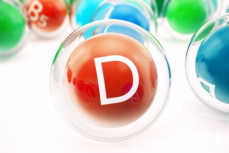 Vitamin D, group of organic substances, food additive, isolated, on white background, 3d rendering