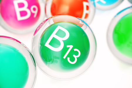 Vitamin B13, group of organic substances, food additive, isolated, on white background, 3d rendering