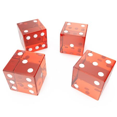 Transparent red cubes on a white background, concept of gambling for example: casino, roulette, 3d rendering