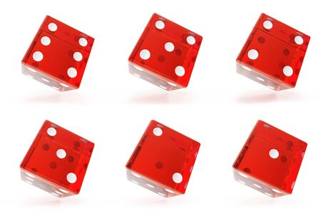 Set, Group of red transparent dice isolated on white background with shadows. 3d rendering