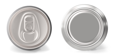 Set of aluminum cans close-up, on white background, 3d rendering