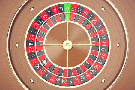 Casino Roulette Game. Casino Gambling. Concept 3D rendering. The Wheel of Fortune. Stock Photo