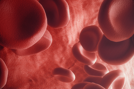 virus cell: Red blood cells in artery, flow inside body, concept medical human health care, 3d rendering Stock Photo