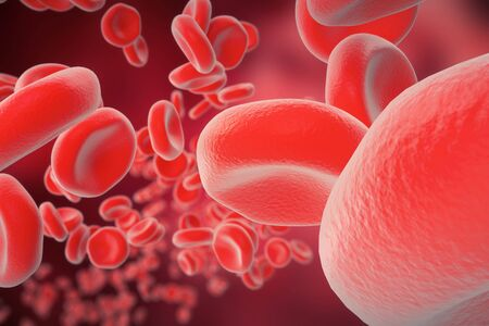 virus cell: Red blood cells: responsible for oxygen carrying over, regulation pH blood, a food and protection of cages of an organism. 3d rendering Stock Photo