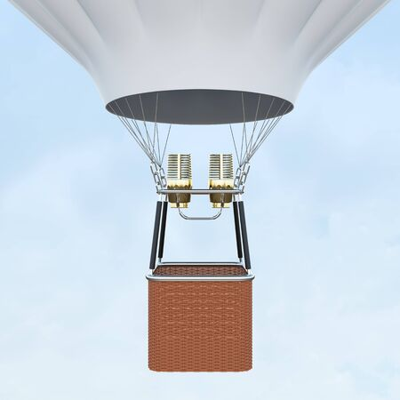White hot air balloon with basket on skiy background. 3d rendering Stock Photo