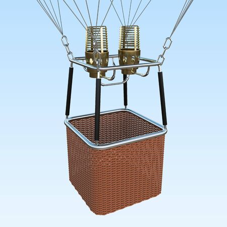 Basket on blue sky background, together with the burner. 3d rendering Stock Photo