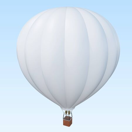 Hot air balloon with basket on skiy background with clouds. 3d rendering Stock Photo