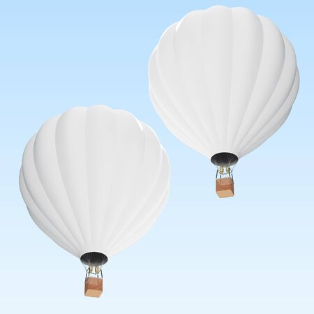 White hot air balloon on clouds background with basket. 3d rendering Stock Photo