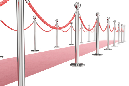 Red valvet carpet isolated on white background with silver stanchiond nad two rope barriers. 3d rendering