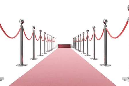 velvet rope barrier: Red carpet isolated on white background. 3d rendering of silver stanchions and ropes between them
