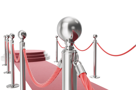 of them: Red carpet isolated on white background. 3d rendering of silver stanchions and ropes between them
