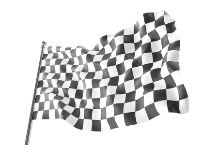 two crossed checkered flags: Checkered race flag. Finishing checkered flag, 3d rendering isolated on white background