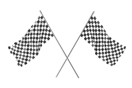 Two crossed race checkered flags, finishing checkered flag, 3d rendering isolated on white