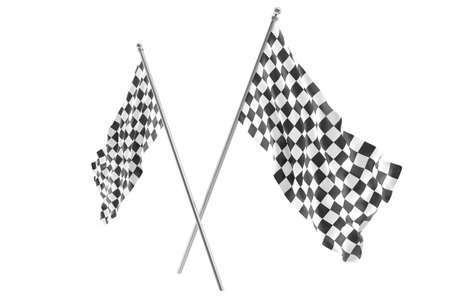 two crossed checkered flags: Two crossed race checkered flags, finishing checkered flag, 3d rendering isolated on white