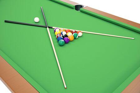 billiard ball: 3D illustration Billiard balls on green table with billiard cue, Snooker, Pool game. Billiard concept