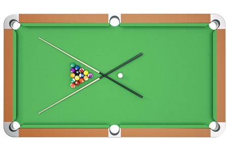 3D illustration American pool snooker balls background. American Billiard. Bar game, Billiard table game, top view Stock Photo
