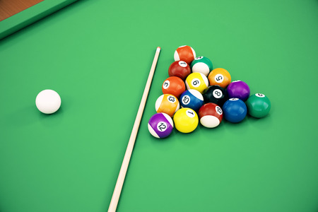 3D illustration American pool snooker balls background. American Billiard. Close up Billiard balls. Bar game. Billiard table game. Stock Photo