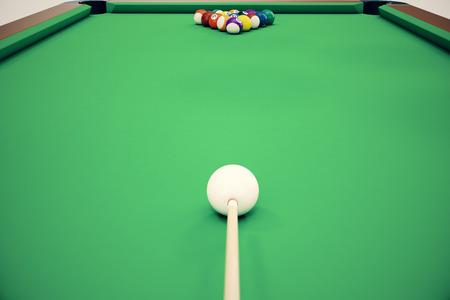 3D illustration pool billiard game. American pool billiard. Pool billiard game, Billiard sport concept. Reklamní fotografie