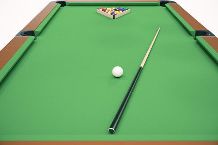 3D illustration Billiard balls in a green pool table, pool billiard game. Billiard concept Stock Photo