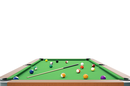 3D illustration pool billiard game. American pool billiard. Pool billiard game, Billiard sport concept. Stock Photo