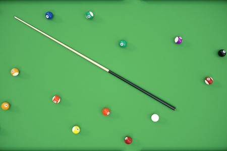 3D illustration Billiard balls in a green pool table, pool billiard game. Billiard concept Stock Photo