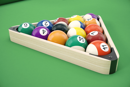 Pool billiard balls in a wooden rack, commonly used starting position, 3D illustration on green background.