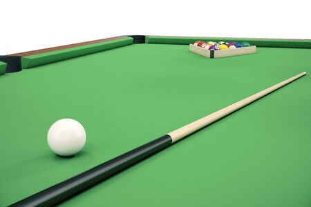 3D illustration Billiard balls on green table with billiard cue, Snooker, Pool game, Billiard concept Stock Photo