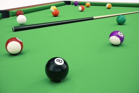 3D illustration American pool snooker balls background. American Billiard. Close up Billiard balls. Bar game. Billiard table game. Reklamní fotografie