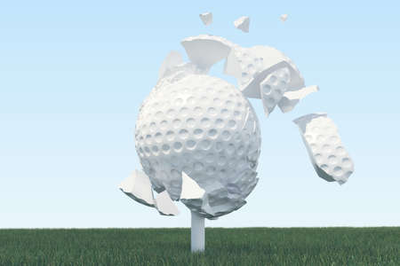 grass close up: 3D illustration Golf ball Scatters to pieces after a strong blow and ball in grass, close up view on tee ready to be shot. Golf ball on sky background.