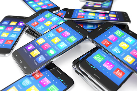 Heap of the different smartphones with application on the screen. Modern technology concept background, 3d illustration