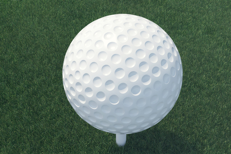 golfball: 3D illustration Golf ball and ball in grass, close up view on tee ready to be shot. Golf ball top view.