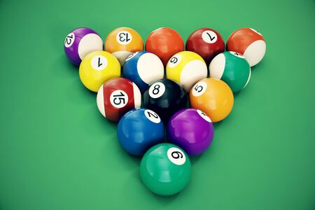 3D illustration Billiard balls arranged in a triangle viewed from above, top view. Snooker, Pool game, Billiard concept