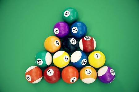 Illustration 3D Boules de billard disposées dans un triangle vu d'en haut, vue de dessus. Snooker, jeu de billard, concept de billard