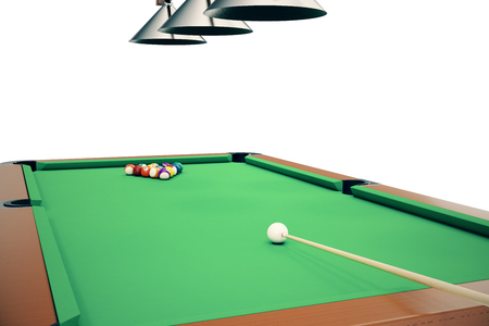 3D illustration Billiard balls in a green pool table, pool billiard game, Billiard concept Stock Photo