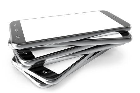 Modern smart phone. White screen for mockup, isolated on white background, 3d illustration