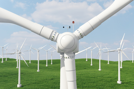 windfarm: 3d illustration, turbine on the grass. Concept alternative electricity source. Eco energy, clean Energy