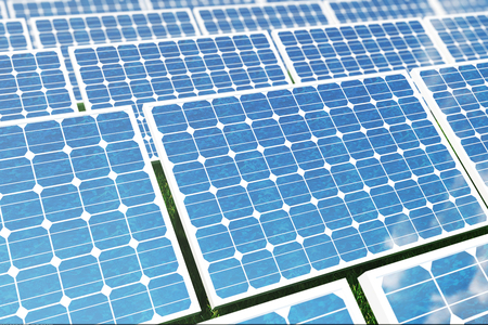 thermal: 3D illustration Solar energy concept. Solar panels on grass. Blue sky reflection on photovoltaic panel. Power, ecology, technology, electricity.